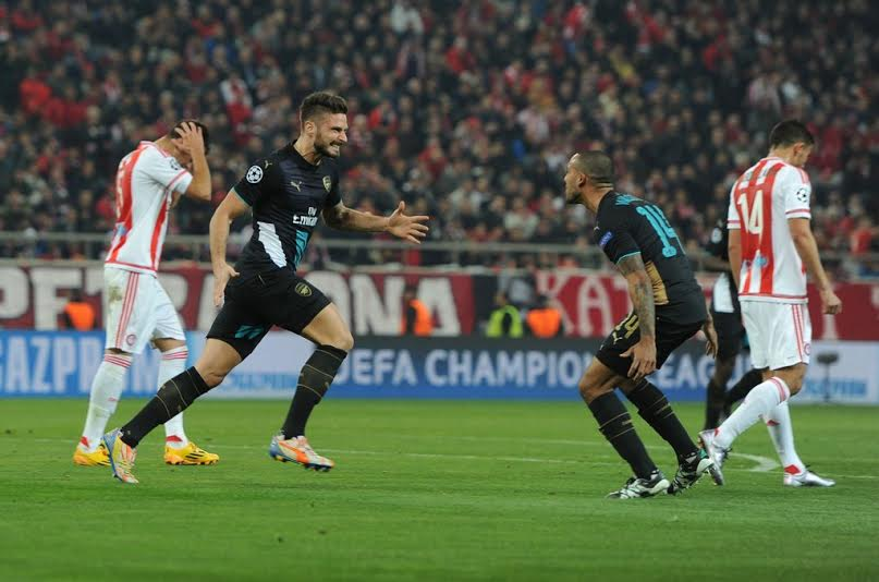 UCL: Arsenal Bash Ideye's Olympiacos To Progress, Simon Makes History With Gent
