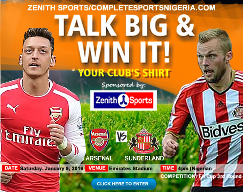 Arsenal Vs Sunderland: ‎Talk Big & Win Your Club's Jersey