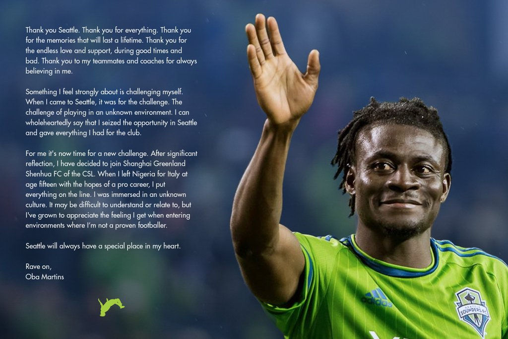Martins Confirms China Move, Pays Tribute To Seattle