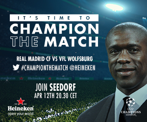 ChampionTheMatch: Join Clarence Seedorf Live As Real Madrid Hosts Wolfsburg