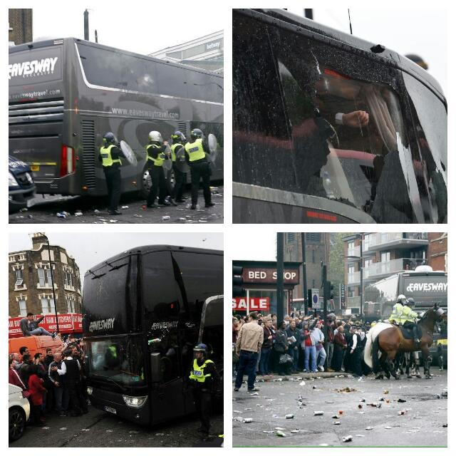 West Ham Fans Attack Man United Bus, Game Shifted