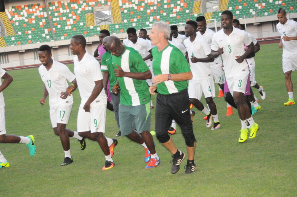 Super Eagles Train Behind Closed Doors Today; Simon Is Latest Arrival In Camp