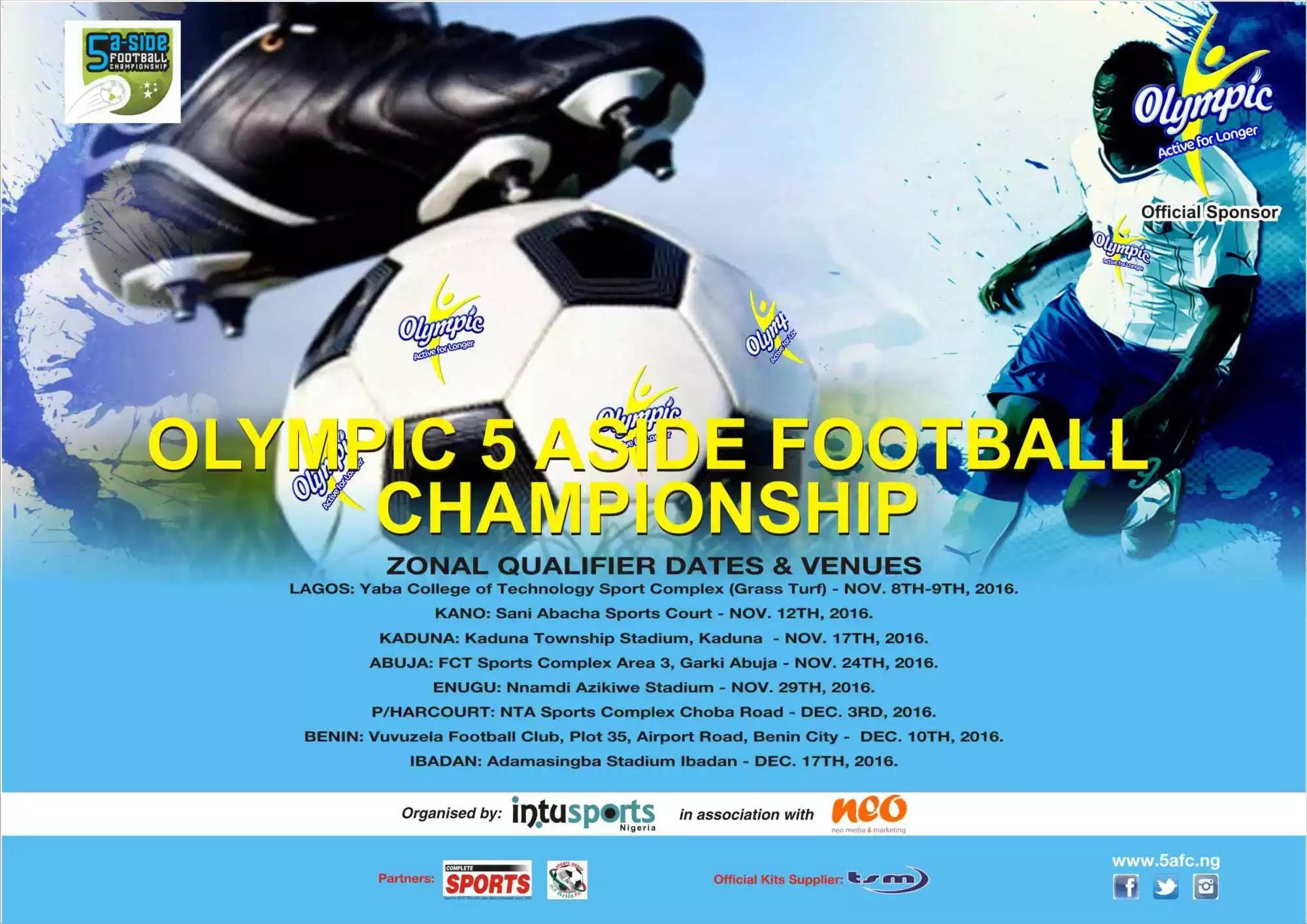 Olympic 5-A-Side Season 2: Benin Zonal Qualifiers Start Dec. 10