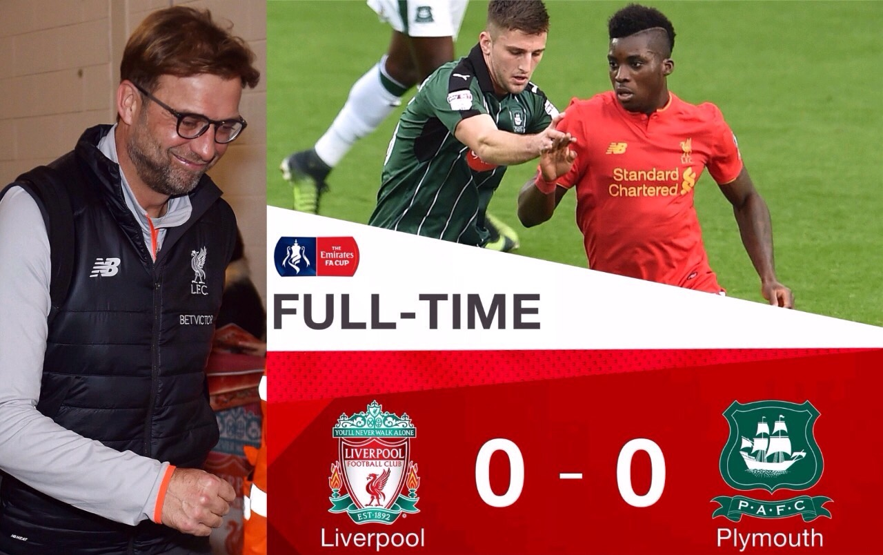 FA Cup: Klopp Admits Plymouth Deserved Draw, Replay Vs Liverpool