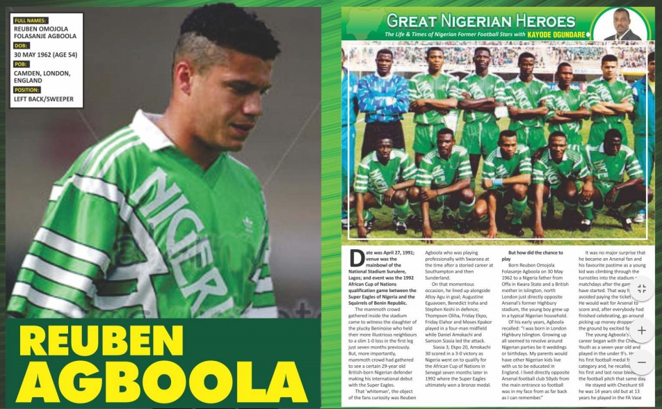 INSIDE THE LATEST DIGITAL COMPLETE FOOTBALL: Why I Was Left Out Of USA'94 Super Eagles – Reuben Agboola