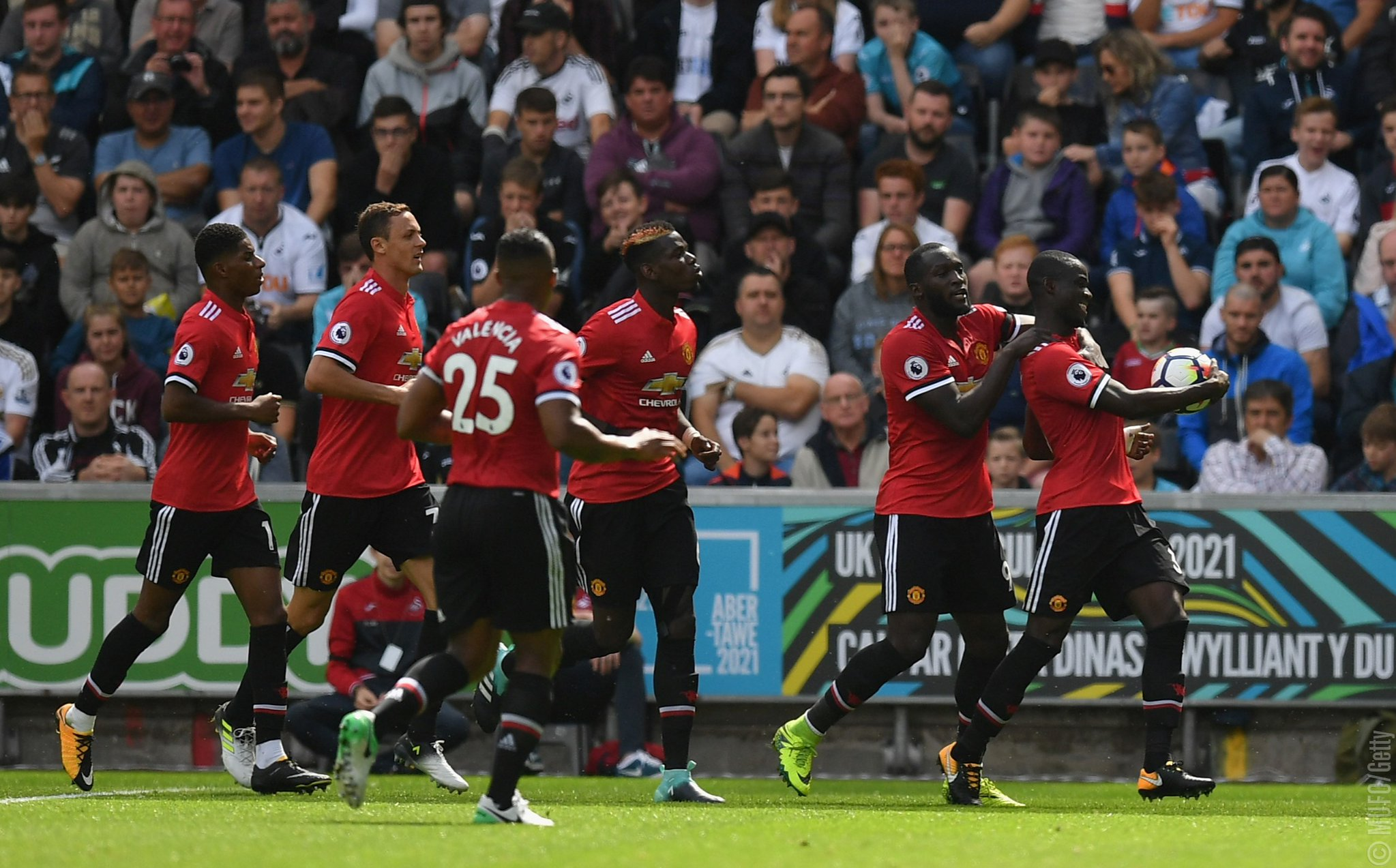 Bailly Scores Historic Goal As Lukaku, Pogba Fire Man United Past Swansea