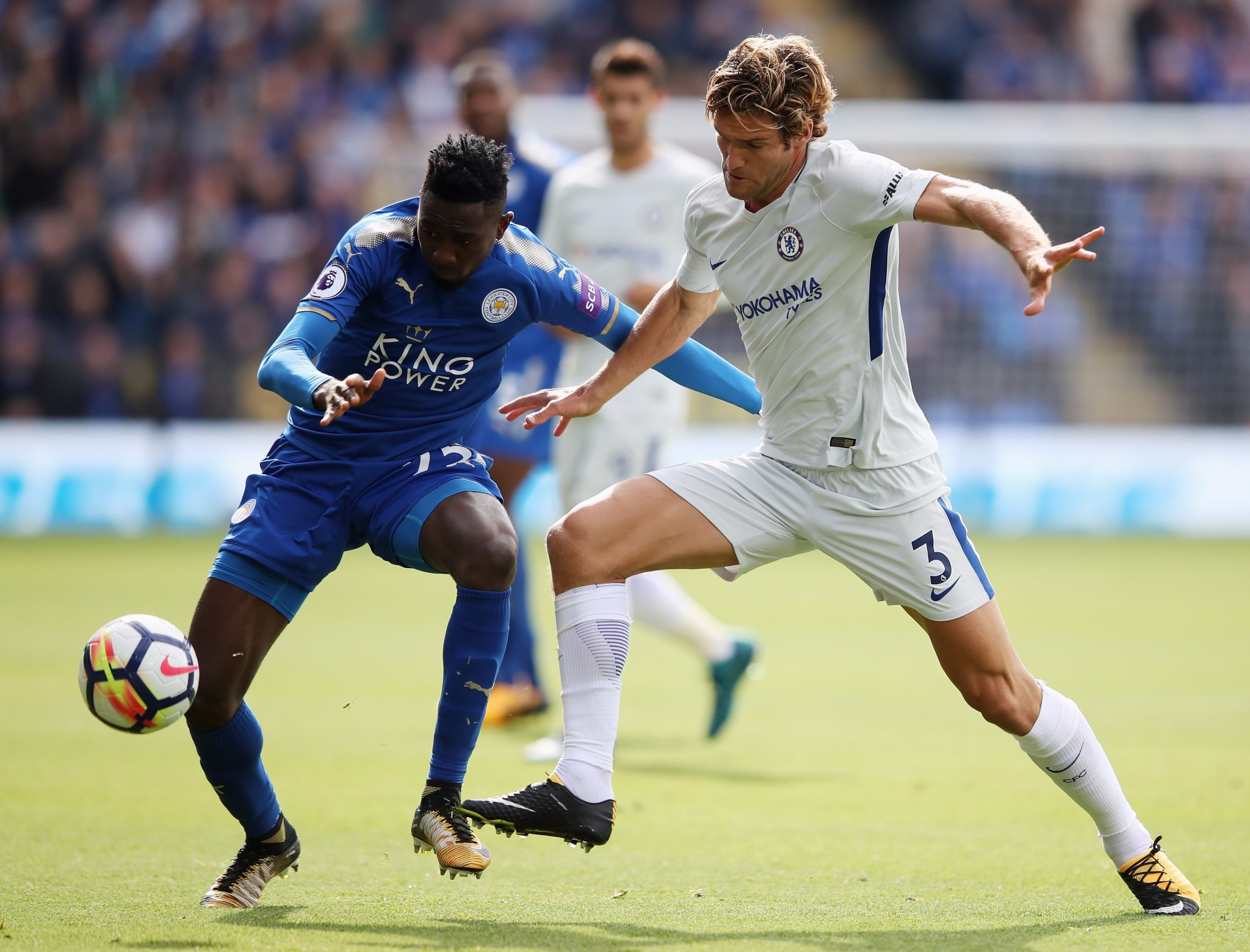 Morata Fires Chelsea Past Leicester; Moses, Ndidi, Iheanacho In Action, Success Benched