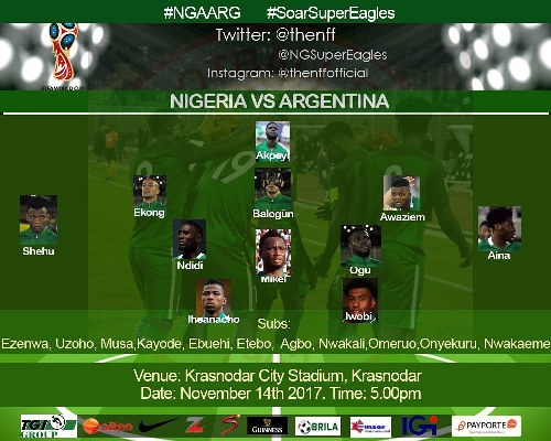 CONFIRMED: Akpeyi In Goal, Awaziem Starts As Super Eagles Play 3-5-2  Vs Argentina