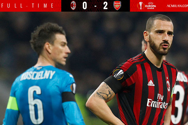 UEL: Captain Bonucci Admits Milan Were Scared Of Arsenal At San Siro, Upbeat About Victory At The Emirates