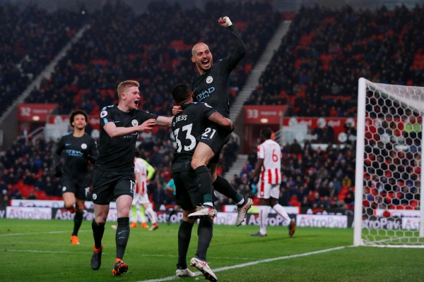 Silva Hits Brace As Man City Ease Past Stoke, Close In On EPL Title