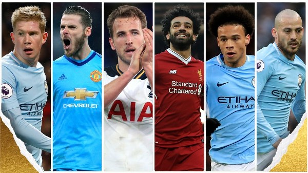 Kane, De Bruyne, De Gea, Salah, Rashford Up For PFA Awards