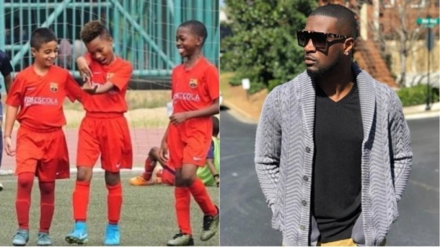 Peter Of Psquare's Son, Scores Superb Goal In FCBescola Tourney In Spain