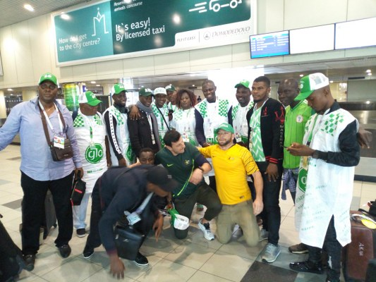 Supporters Club Loud In Doha En Route Kaliningrad, Vow To Roar Eagles To Success In Russia
