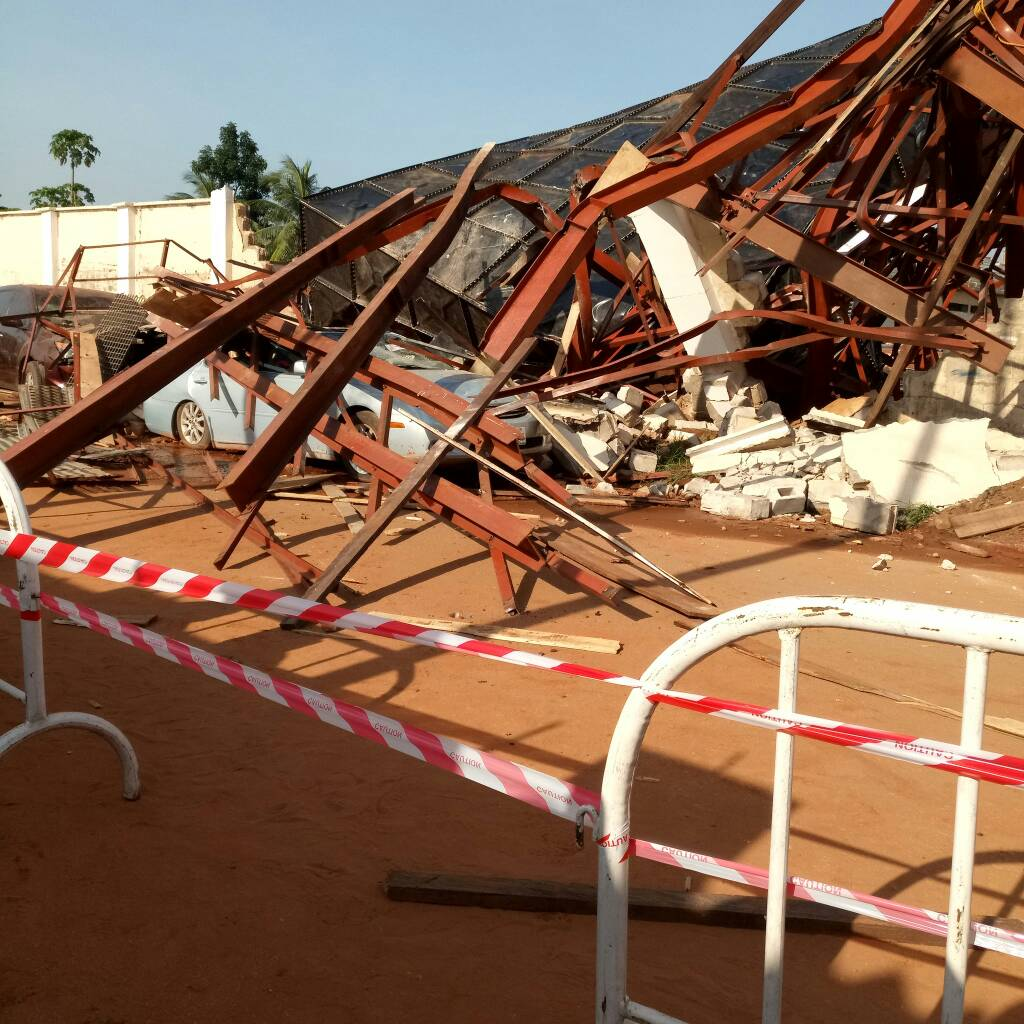 Asaba 2018: Overhead Water Tank Collapses At Stephen Keshi Stadium