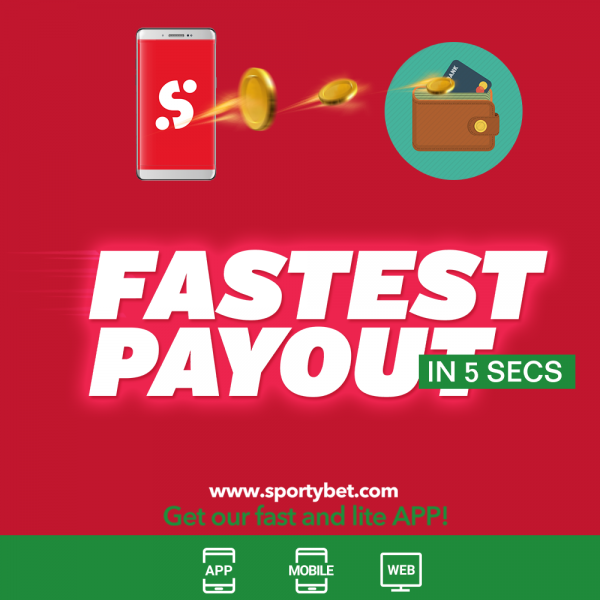 Fastest Payout In Nigeria; Get Your Winnings On Sports Betting in 5 Seconds On SportyBet