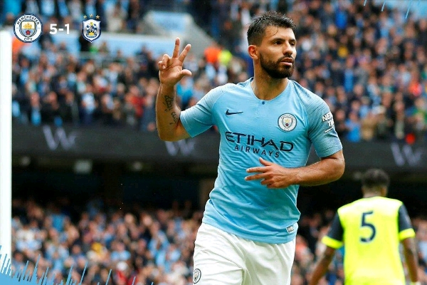 Aguero Fires Hat-Trick As Man City Destroy Huddersfield 6-1