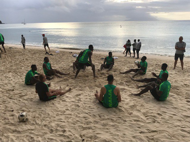 Super Eagles Begin Training In Victoria With Foot-Volley On The Beach