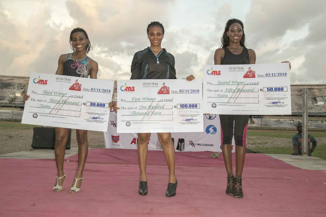 400 Level NOUN Student Wins 4 Inch Heel Race Competition