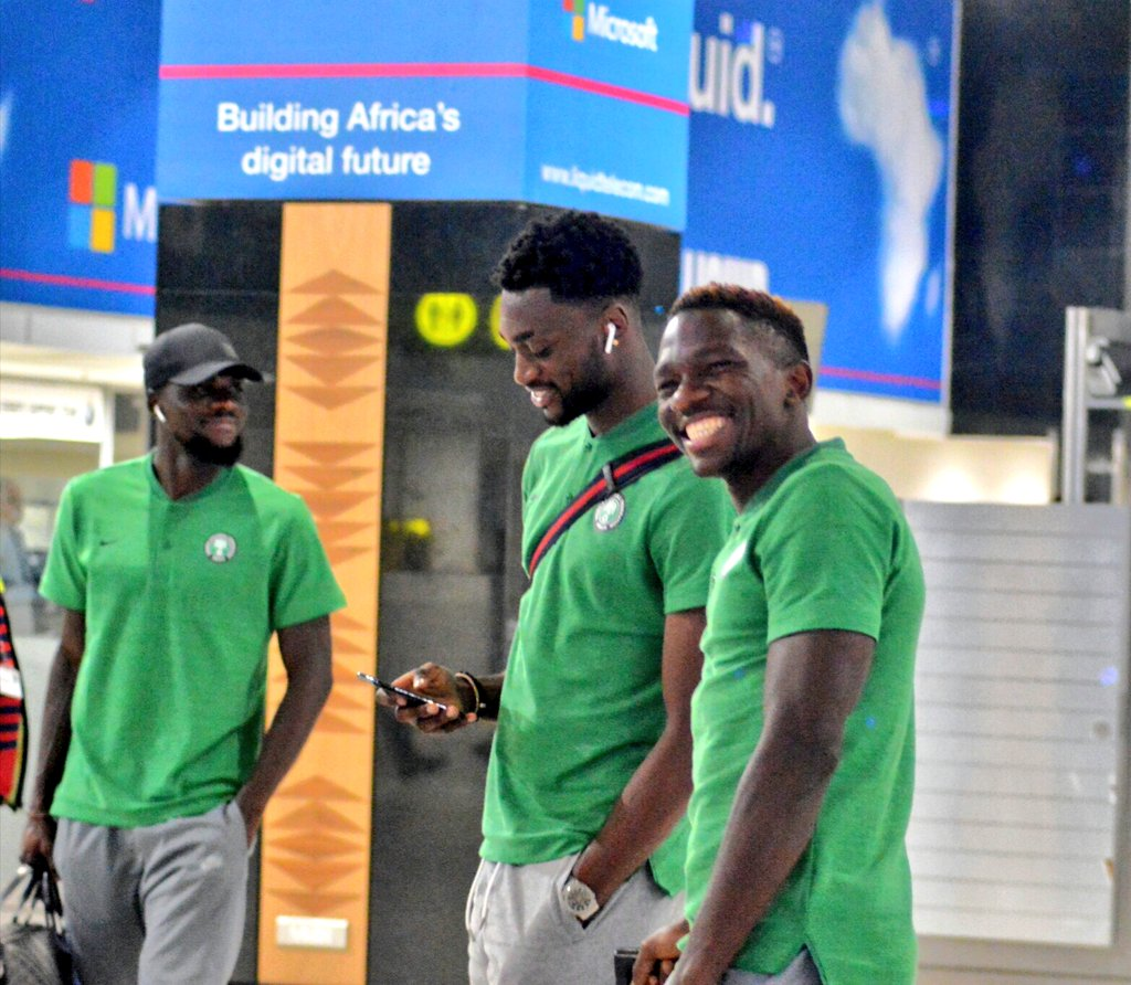 PICTURES: Eagles Arrive in Jo'burg, Omeruo Insists It's Revenge Mission Vs Bafana