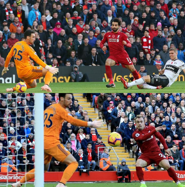 Liverpool Pip Fulham With Salah, Shaqiri Goals To Go Top Of EPL