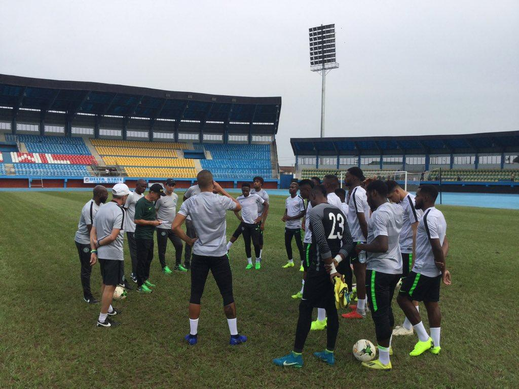 22 Super Eagles Train In Asaba Ahead Bafana Clash,  Kalu Still Being Expected