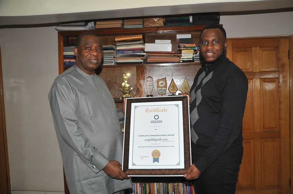 CCL Chairman Ojeagbase Receives Business Insight Award Won By Completesports.com, Lauds Diligent Staff
