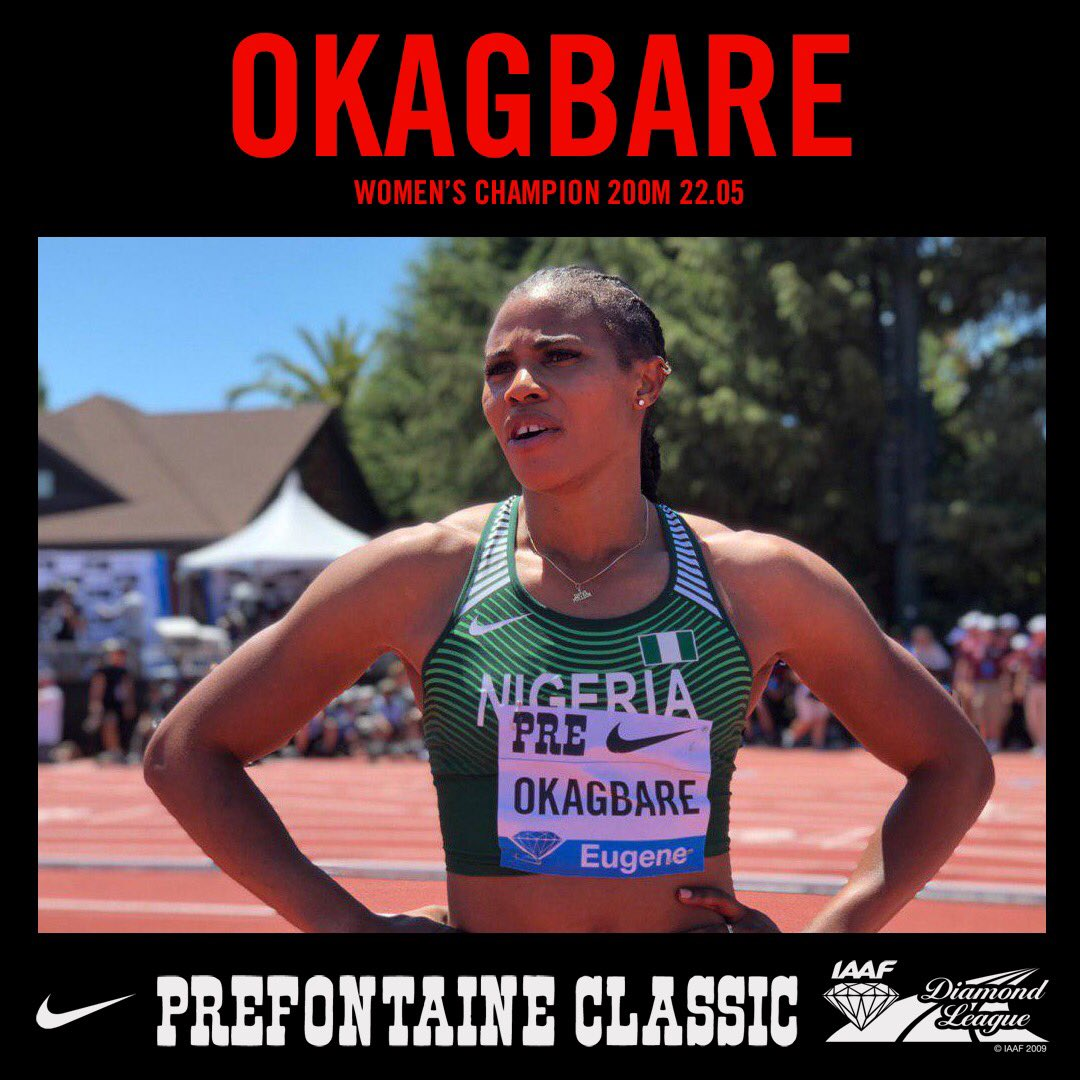 Incredible Okagbare Blazes To 1st Pre-Fontaine DL Win In 22.05 Secs; Now 2nd On IAAF 2019 List