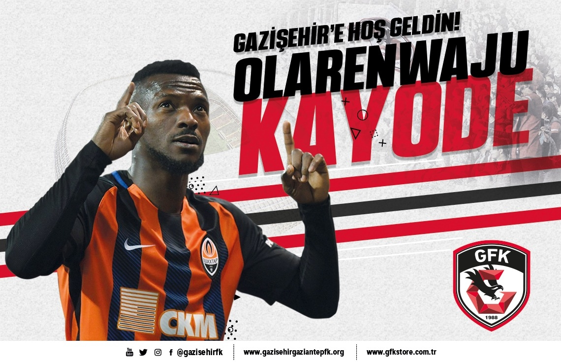 Kayode Joins Turkish Club Gazisehir Gaziantep On Loan From Shakhtar Donetsk