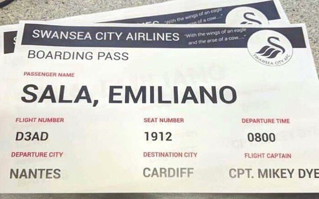 Swansea Fans Print Image Of Emiliano Sala Boarding Pass Ahead Of Cardiff Derby