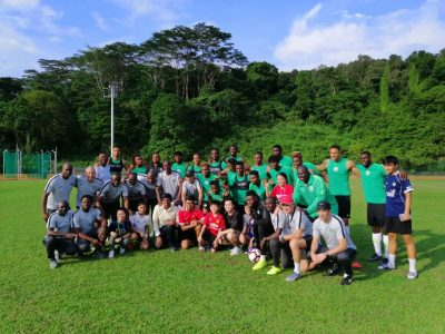 School Children Watch Super Eagles First training session in Singapore
