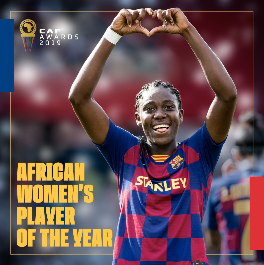 Image result for pic of oshoala wins women african footballer of the year 2019