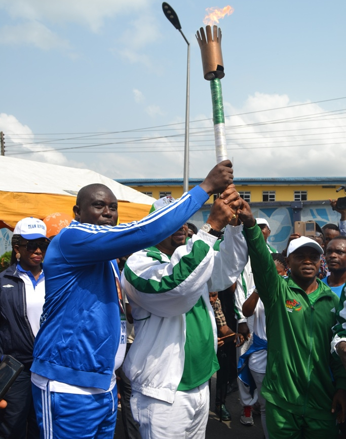 Wike Receives Torch Of Unity; Charges Rivers Athletes To Shine At Edo 2020