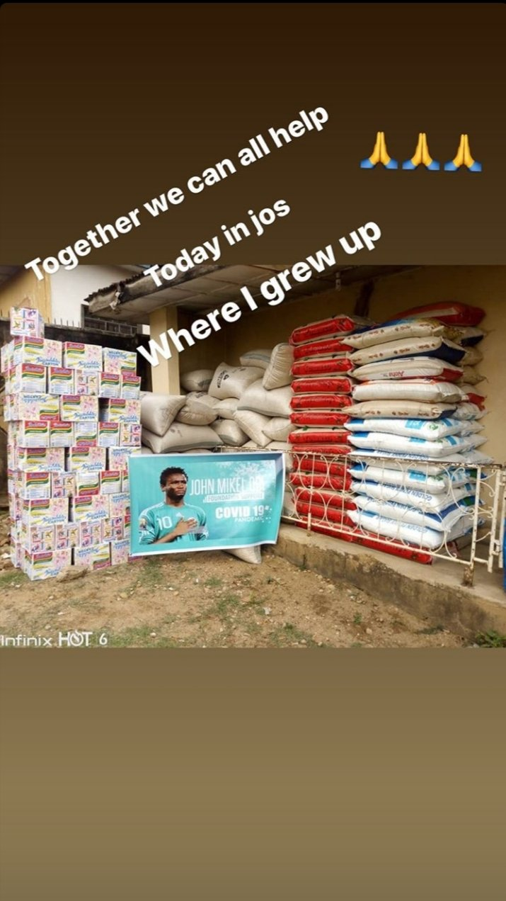 Coronavirus: Mikel  Donates Food Items To The Needy In Jos