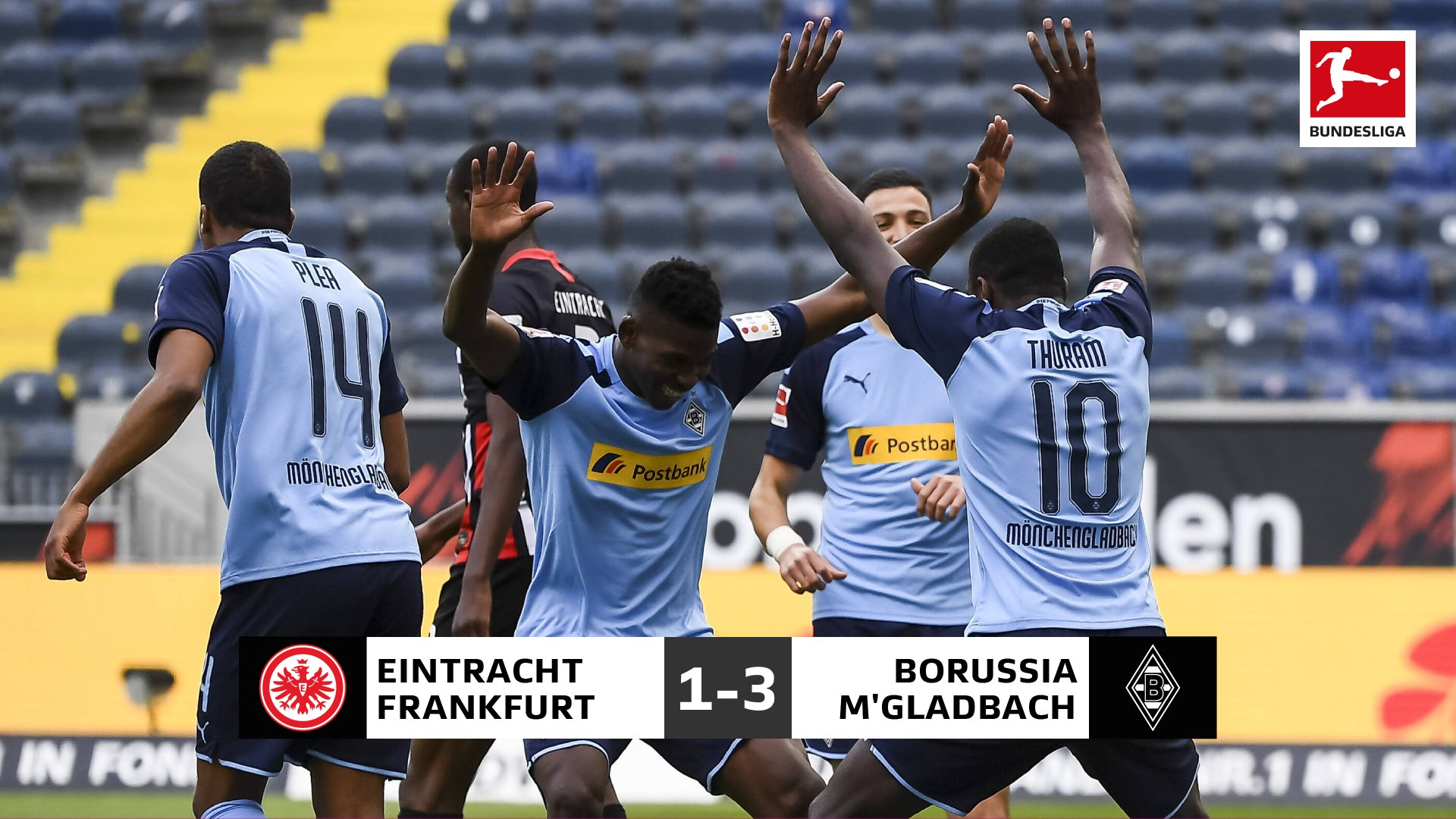 Bundesliga:  M'gladbach Climb To Third Spot With Away Win At Frankfurt