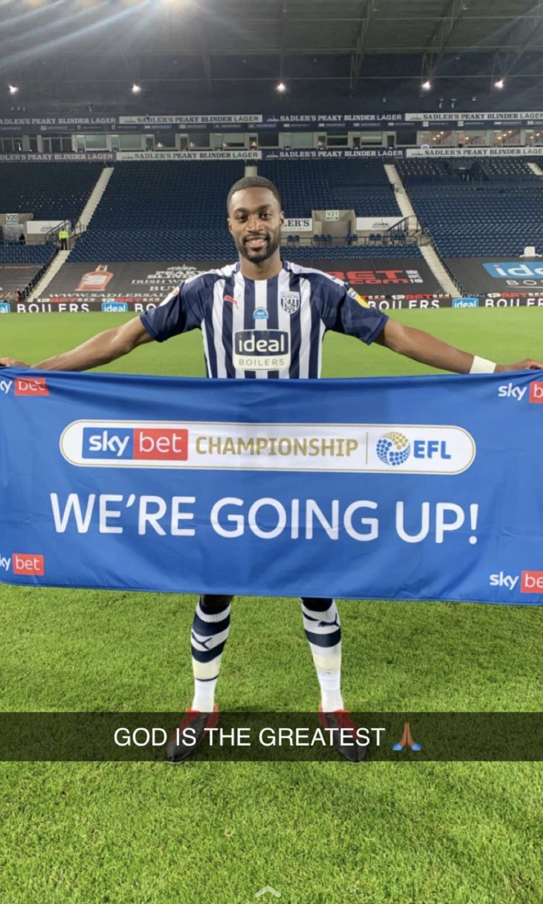 Ajayi Celebrates West Brom's Premier League Promotion