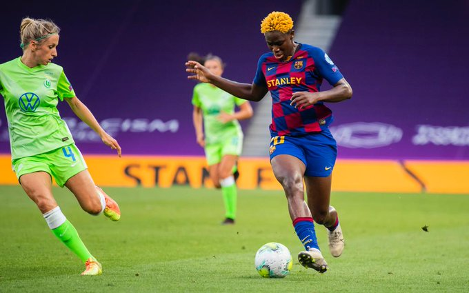 Oshoala In Action As Wolfsburg Beat Barcelona In Women's Champions League Semi-final